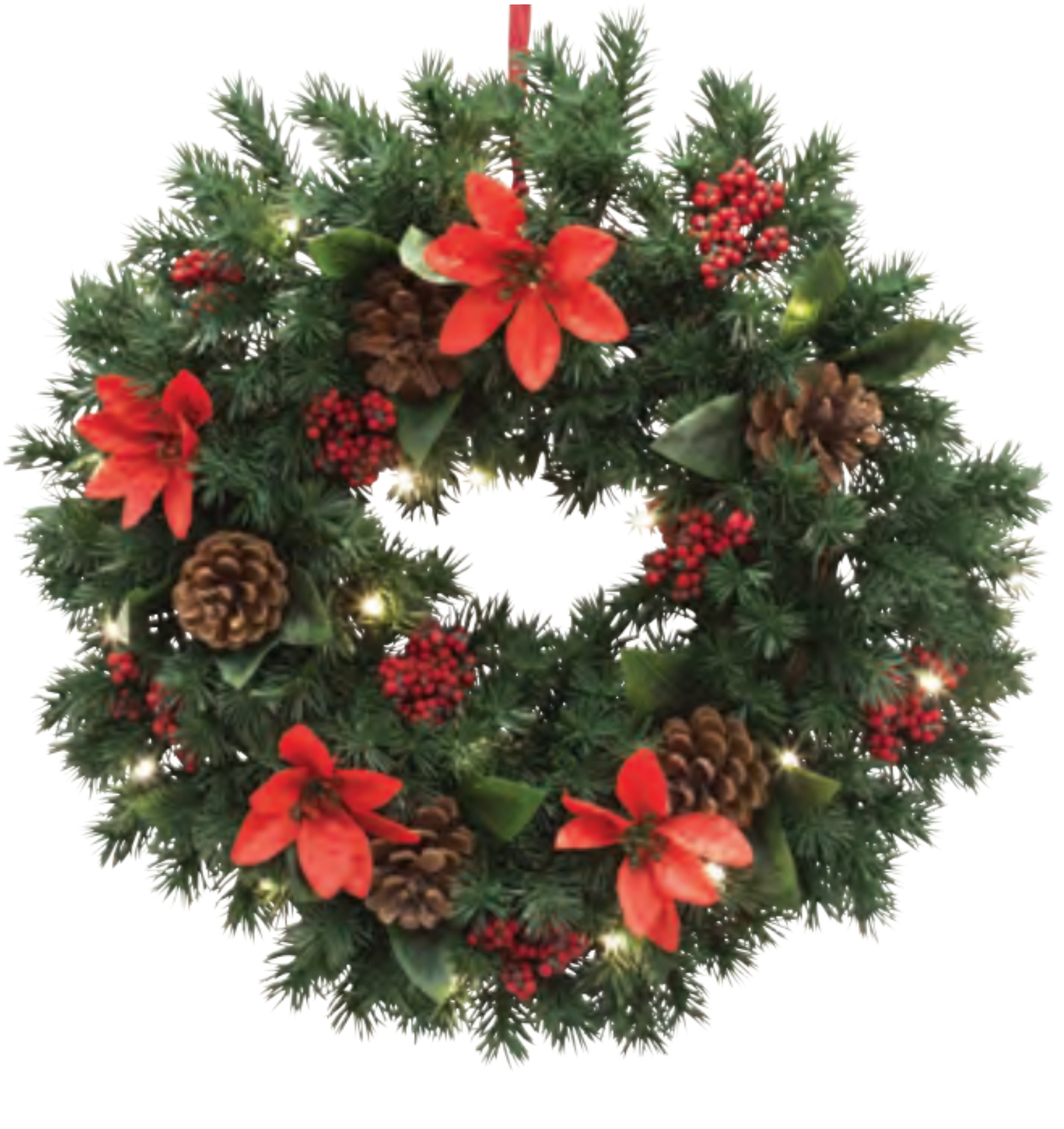 Christmas Wreath Poinsettia & Pine with Pre-Lit battery 20 LEDs