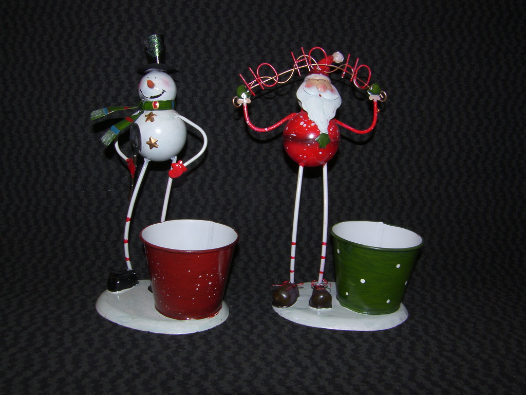 Santa & Snowman Metal Planter, Phone Holder Christmas Decoration