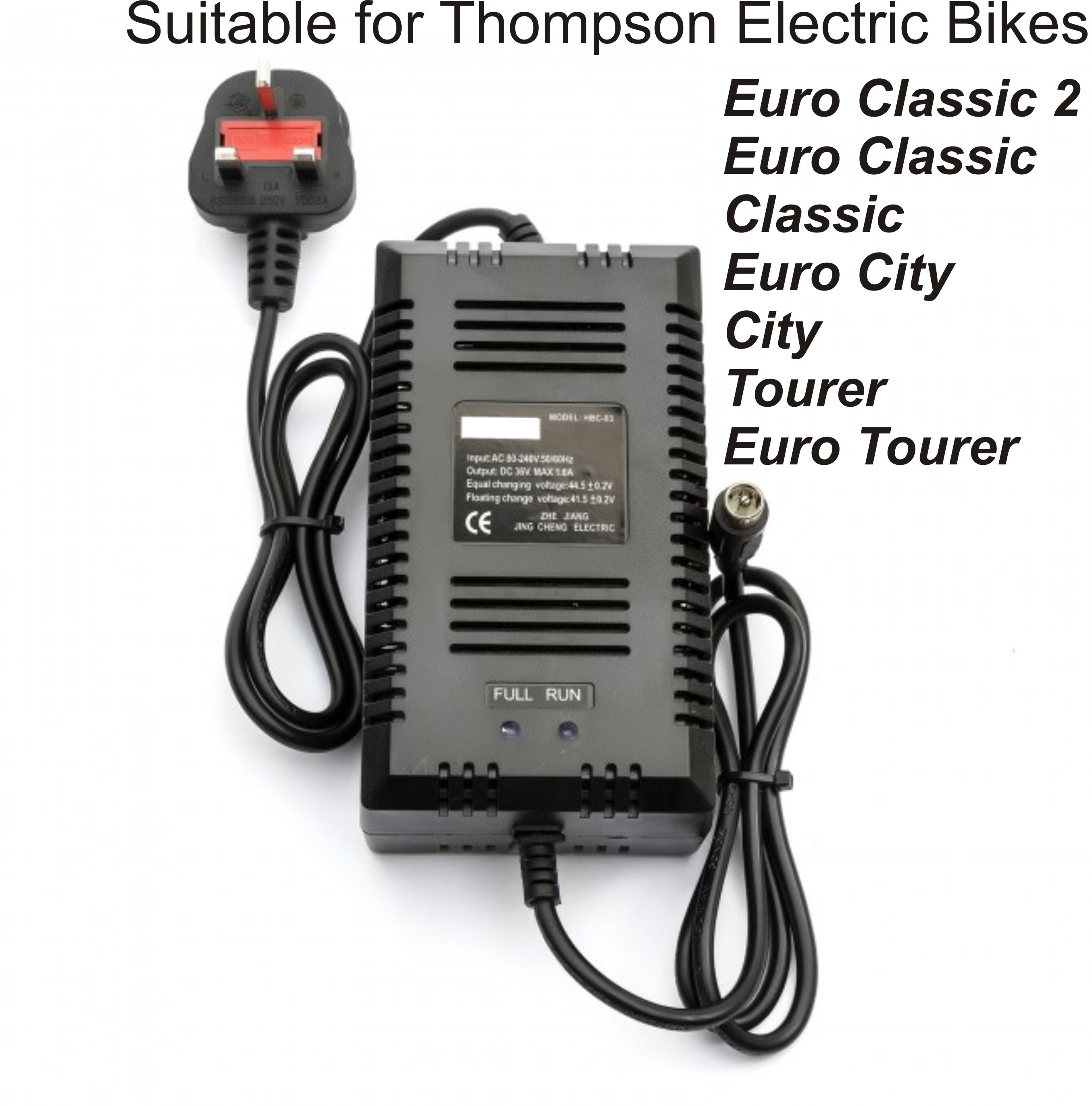Battery Charger for Thompson Euro Classic 2, City & Tourer Bikes