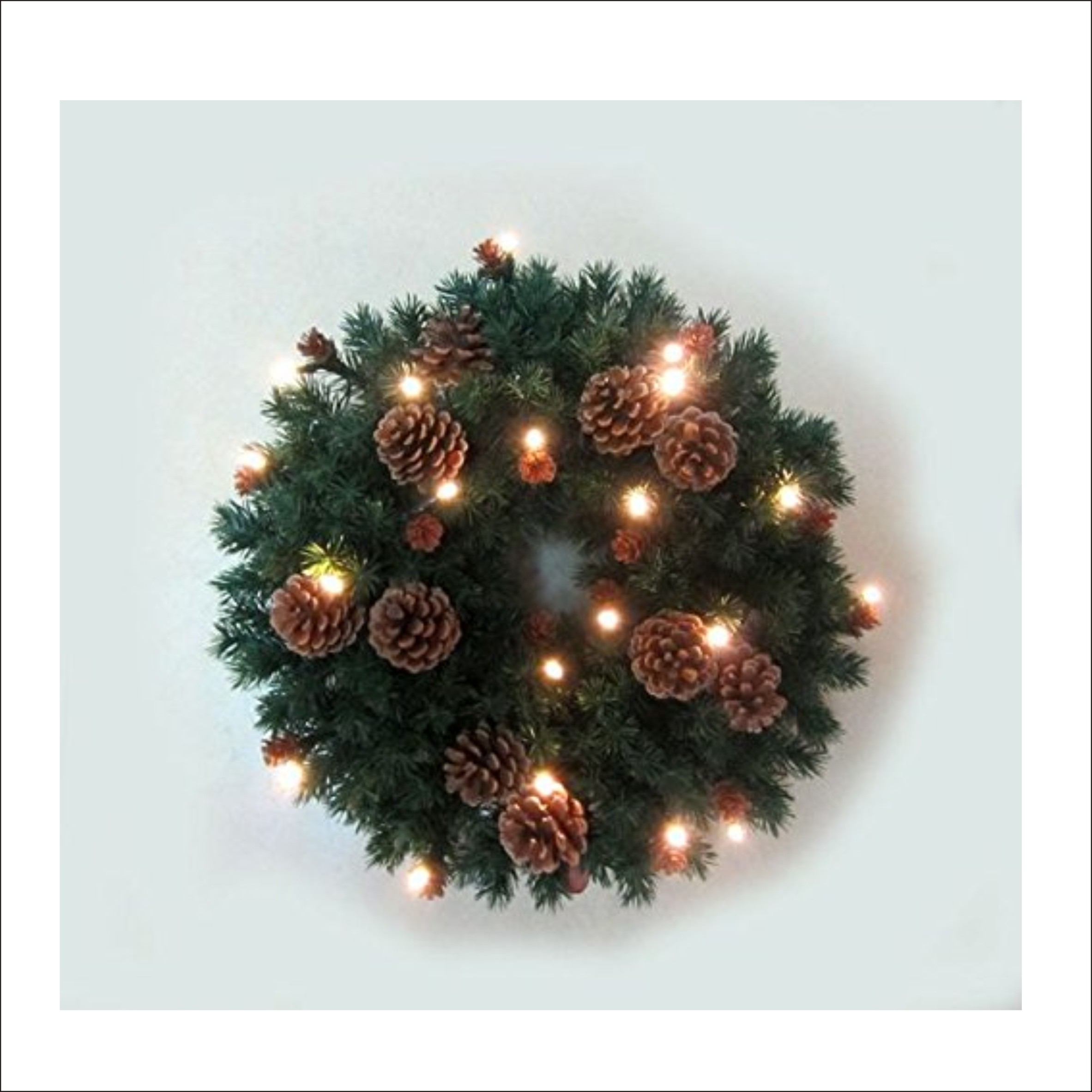 Christmas Wreath With Pine & Cones and Pre-Lit 20 LED Lights